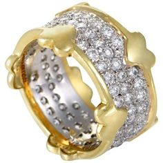 Tiffany & Co. Platinum and Yellow Gold Schlumberger Diamond Pave Band Ring Size Pave Ring, Gold Band Ring, Gold Bands, Band Rings, Tiffany Co Rings, Tiffany & Co., Fine Jewelry, Jewelry Rings, Jewelery