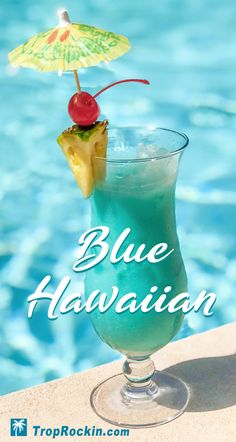The perfect tropical drink? This blue Curacao drink is a classic. The Blue Hawaiian combines island flavors of coconut and pineapple with a hint of orange. Super easy to make and a huge splash to serve. A gorgeous drink and tastes like your on an island. Blue Curacao Drinks, Blue Drinks, Blue Cocktails, Summer Drinks, Cocktail Drinks, Cocktail Recipes, Tropic Drinks, Easy To Make Cocktails, Orange