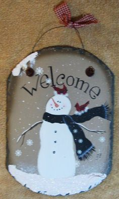primitive snowman to paint on slate | Painted Slate Welcome Signs