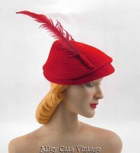 Vintage 1940s 40s Hat Red Felt Stitched Close Style with Long Red Feather Sz 22