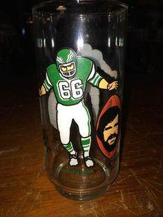 BILL BERGEY & JOHN BUNTING PHILADELPHIA EAGLES 1980 MCDONALDS GLASS - RARE!!