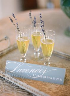 lavender champagne with an A+ for presentation | Photography by jenfariello.com | Event Design by http://www.eastonevents.com |   Read more - http://www.stylemepretty.com/2013/08/05/pippin-hill-wedding-from-easton-events-jen-fariello-photography/
