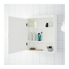 IKEA - SILVERÅN, Mirror cabinet, white, , You can mount the door to open from the right or left.Perfect in a small bathroom.The mirror comes with safety film on the Bathroom Mirror Cabinet, Mirror Cabinets, Diy Cabinets, Bathroom Cabinets, Bathroom Furniture, Master Bathroom, Medicine Cabinets, Light Bathroom, Small Bathrooms