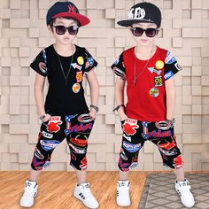 d45e72a91afa Europe&America 2017 New boys wear short sleeved summer hip hop personality  Summer sport suit T Shirt+Pants Children Clothing-in Clothing Sets from  Mother ...