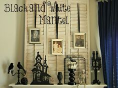Halloween decorations : IDEAS & INSPIRATIONS Black and White Halloween Mantel