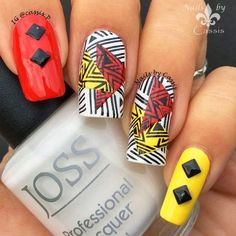 Nails by Cassis: Red x Yellow Abstract Mani #nails #nailart #nailstamping #bornprettystore