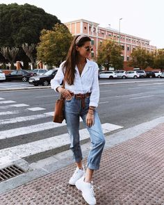 white sneaks + denim jeans + white blouse