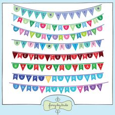 A set of bunting banners with assorted holiday greetings for your photographs, cards and party invitations.