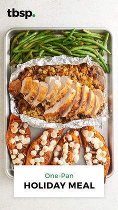 Sheet-Pan Turkey Dinner Cooking for a small gathering? Eating Thanksgiving or Christmas dinner out but still want a fridge full of leftovers? You'll love how easy it is to make a whole holiday feast—complete. Turkey Dishes, Turkey Recipes, Pumpkin Recipes, Thanksgiving Recipes, Holiday Recipes, Christmas Desserts, Thanksgiving Dinner For Two, Holiday Meals, Holiday Parties