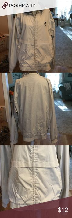 FALL LIGHTWEIGHT BEIGE JACKET This LIKE NEW jacket has a navy lining. elastic at bottom of jacket & at bottom of sleeves. Long zipper 2 slant front pockets.65% polyester and 35% cotton. Very nice. Port Authority Jackets & Coats Lightweight & Shirt Jackets