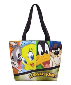 Look at this Looney Tunes Tote Bag on today! White Tote Bag, White Handbag, Printed Tote Bags, Canvas Tote Bags, Tote Purse, Tote Handbags, Looney Tunes Bugs Bunny, Tote Pattern, White Purses