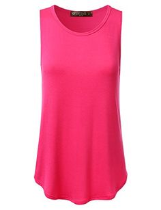 DRESSIS Women's Sleeveless Round Neck Flared Loose Fit Soft Tank Top SANGRIA M *** Read review @