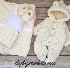 Baby Coming Home Outfit Set Spring Girl Boy Crochet Knitted, Bear Onesie Hooded Hodie Coveralls/Overalls/Romper/Jumpsuits, Baby shower Gift – Stricken sie Baby Kleidung Winter Baby Clothes, Knitted Baby Clothes, Cute Baby Clothes, Baby Knitting Patterns, Baby Patterns, Crochet Patterns, Baby Cardigan, Baby Bunny Costume, Baby Set