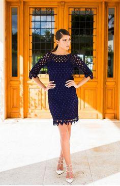 Dark blue crochet dress