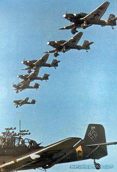 "A formation of German Junkers Ju 87 ""Stuka"" dive bombers."