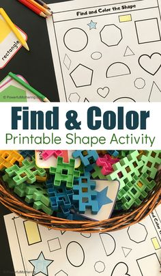 A fun shape sensory bin search activity with free printable. This is a great way for children to identify shapes and match them to their twin. Preschool Colors, Preschool Math, Kindergarten Activities, Toddler Preschool, Playdough Activities, Hands On Activities, Craft Activities For Kids, Toddler Activities, Learning Shapes