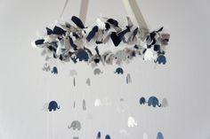 navy and gray nursery | Baby Boy Elephant Mobile in Navy, Gray, & White- Nursery Mobile Decor ...