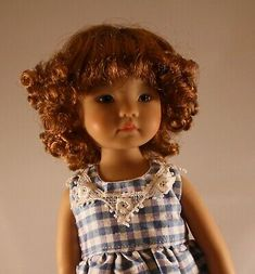 Tight little curls all the way around the wig. It has bangs. This wig looks great with a hat! Girl Doll Clothes, Girl Dolls, Doll Wigs, Popular Dresses, Dress Form, Trinidad And Tobago, American Girl, Bangs, Looks Great