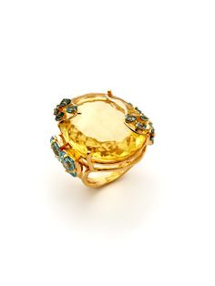 Lemon & Blue Quartz Cluster Ring by Bounkit at Gilt