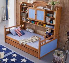 Mediterraneo Mobili Per Bambini, Letto In Legno massello, Multi-funzionale Letto, Double Deck Armadio, letto 1.2 Metri