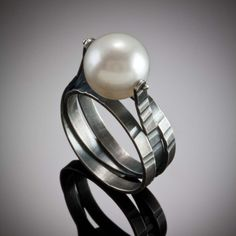 Molly Dingledine, Spiral Ring, Round Pearl Oxidized sterling silver, cultured pearl