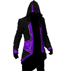 Black And Purple Assassins Creed III Conner Kenway Jacket Cosplay Costume Set Masque Outfit