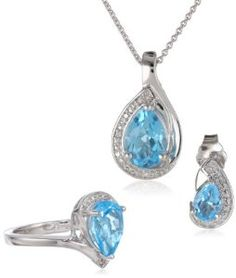 Sterling Silver Pear Blue Topaz and Diamond Ring, Pendant Necklace, Earrings Box Set, Size 7