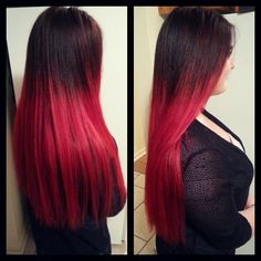 4 bundles ombre dye natural black to bright red full head weft long red ombre hair pmusecretfo Gallery