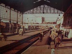 Estación de trenes de León, la de entonces.