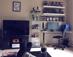 My battlestation PC is also hooked up to the TV via hidden HDMI cable for when I wanna grab my controller and couch-game Before you rag on my chair it just got replaced Home Design, Interior Design, Home Office, Gaming Room Setup, Gaming Rooms, Computer Setup, Game Room Design, Gamer Room, Man Cave Home Bar