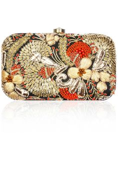 Black embroidered coral clutch available only at Pernia's Pop-Up Shop.