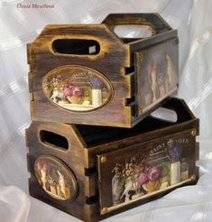 Maybe do something like this with my old wooden magazine rack Decoupage Box, Decoupage Vintage, Wood Crates, Wood Boxes, Easy Woodworking Projects, Wood Projects, Painted Furniture, Diy Furniture, Creative Box