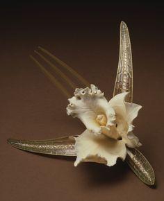 Orchid Comb - Rene Lalique (French 1860-1945)   -   Ivory, Gold, Plique-a-Jour Enamel, Horn, Diamonds   c.1903-1904