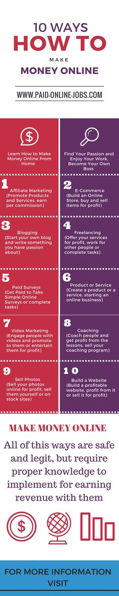 10 Ways – How to Make Money Online – Infographic, you will find out the top 10 ways that you can generate a good revenue from the comfort of your own home.   #makemoney #workfromhome #earnmoney #cash #money #job #jobs #workathome #onlinejobs