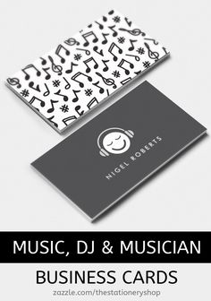 20 fantastic business cards for musicians business cards business music business cards from the stationery shop zazzle ideal for djs musicians reheart Image collections