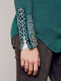 Rare-Sold-Out-Free-People-Kyoto-Cuff-Snap-Stud-Crochet-Thermal-Top-Emerald-S