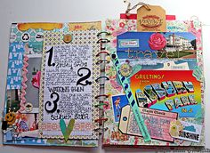 Updated Summer/Smash Journal by Julie Ann Shahin as seen on the Studio Tangie Blog at http://tangiebaxter.com/news/2011/08/23/art-journaling-101-visual-journaling-focus/