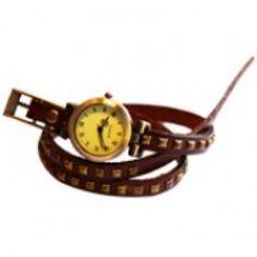 Britanny Wrap Watch Leather Bracelet Choco