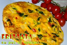 Frittata cu pui si spanac - RETETE DUKAN Low Calories, Dukan Diet, Frittata, Carne, Food And Drink, Vegetarian, Chicken, Breakfast, Morning Coffee