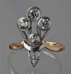 ART NOUVEAU Floral Ring | Tadema Gallery | Austria |  ca.1895 | Two-color gold