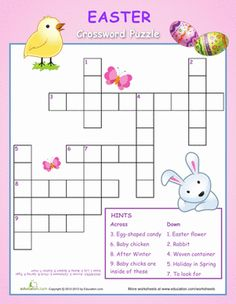 Easter Second Grade Puzzles & Sudoku Worksheets: Easter Crossword Puzzle for Kids