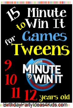 Tween Minute to Win It Games – Fun, easy and cheap games for a tween party! Ag… Tween Minute to Win It Games – Fun, easy and cheap games for a tween party! Ages 12 years old. Tween Games, Sleepover Games, Party Games For Tweens, Kids Party Games Indoor, Boy Party Games, Teenage Party Games, 13th Birthday Parties, Slumber Parties, Teen Birthday Games