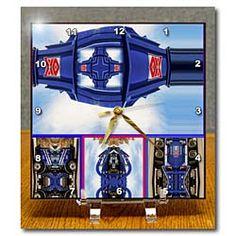 Big Blue Truck arranged to look like UFOs Desk Clock