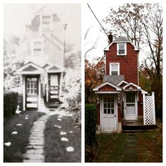 "10-foot-wide Skinny House in Mamaroneck, New York, during the Great Depression, and a version of the brick-red shingled house today. Built in 1932 by an African-American carpenter named Nathan T. Seeley, this early micro home was made from discarded materials found around Westchester County. Seeley built a number of homes in the area, all meant for the waves of black southerners moving to New York, but the gable-roofed ""Skinny House"" is the most distinctive. Now, the home has been nominated…"