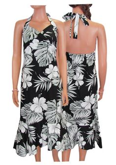 cf7295f614e Halter style Hawaiian Dress. Love the palm details along with hibiscus  flowers. Love the