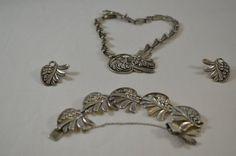 """Margot De #Taxco #Sterling Silver 15"""" Necklace 7"""" Bracelet Clip On Earrings Set #MargotDeTaxco"""