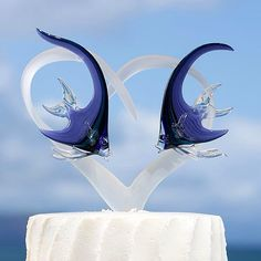 Frosted Glass Heart Cake Topper with Two Angelfish 550.00