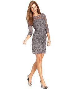 Eliza J Dress, Three-Quarter-Sleeve Ruched Lace Cocktail Dress - Womens Dresses - Love this dress.  Wish they had it in my size.