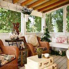 Cosy sitting area outdoor verandah, use old cases as a cofffee table and cane chairs with pretty cushions-English Country Decorating Style Design Ideas, Pictures, Remodel, and Decor - page 60
