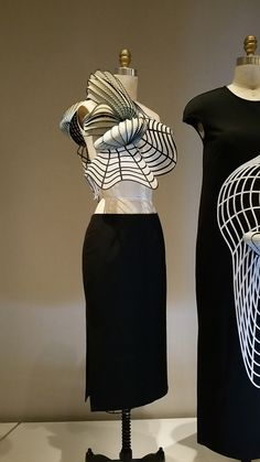 Noah Raviv (Israeli, born 1987); DRESS, 2014, prêt-à-porter, Top: black and white 3D-printed (Polyjet) polymer by Stratasys, hand-sewn white synthetic tulle with adhesive appliqué of laser-cut black polyester twill weave; skirt: machine-sewn black silk cotton faille, hand finished, Manus x Machina exhibition at the MET